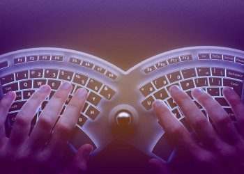 Human hands with a conceptual ergonomic keyboard
