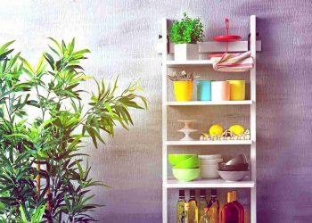 modern white kitchen shelve