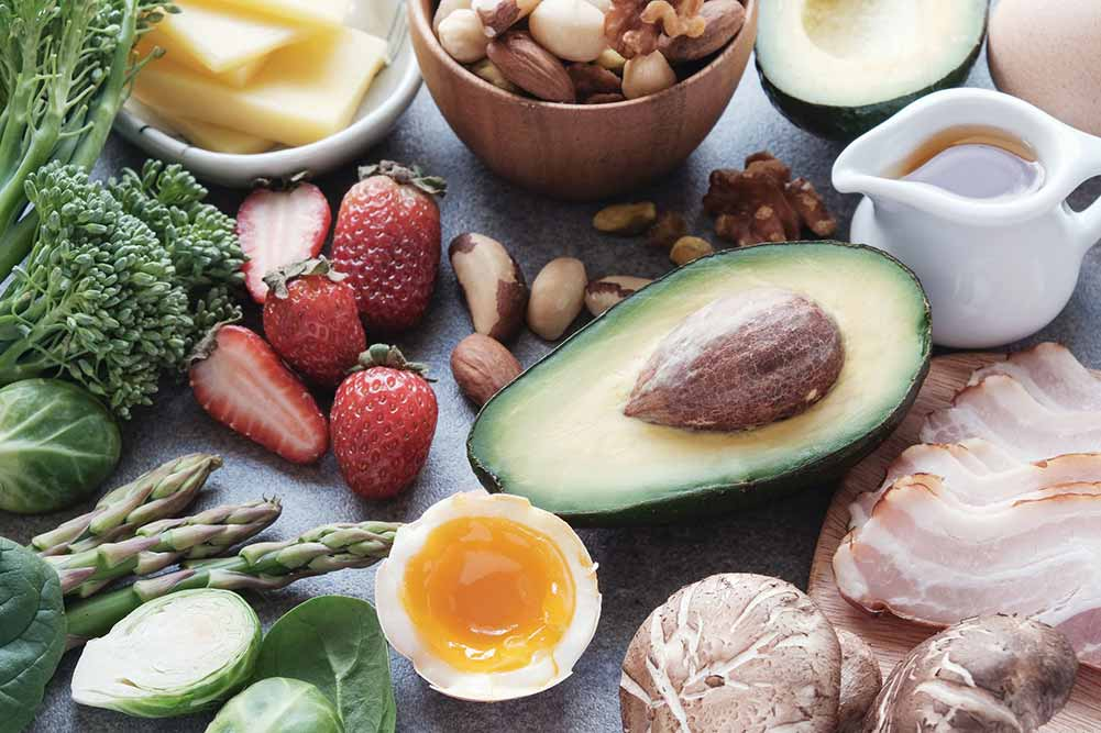 Healthy foods on the bench