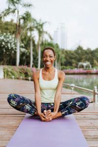 lady doing yoga outside