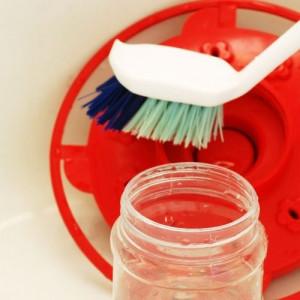 cleaning a hummingbird feeder